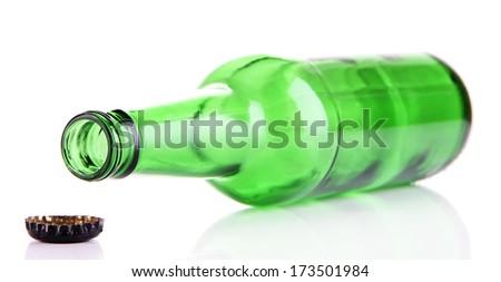 Glass bottle isolated on white - stock photo