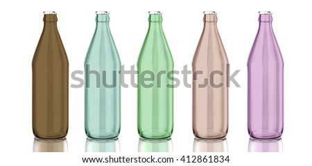 Glass bottle isolated with reflection. 3d illustration