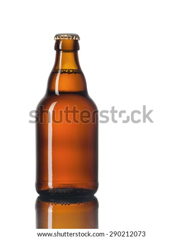 Glass bottle of beer isolated on white background.