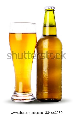 glass bottle of beer Isolated on white background Clipping Path - stock photo