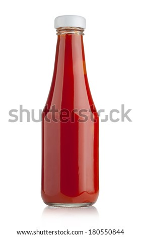 Glass bottle of ketchup on white background with clipping path - stock photo