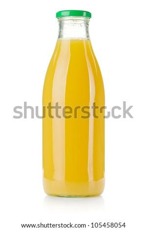 Glass bottle of pineapple juice. Isolated on white - stock photo