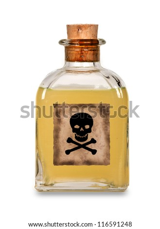 Glass bottle of poison on a white background - stock photo