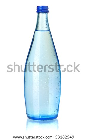 Glass bottle of soda water with water drops. Isolated on white background - stock photo
