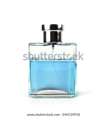 glass bottle of toilet water isolated on a white background with a blue-colored liquid - stock photo