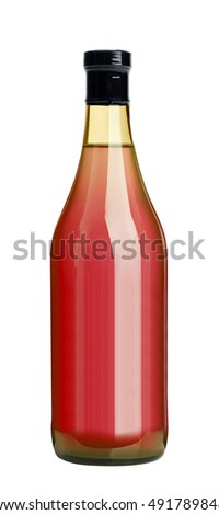 Glass bottle of tomato juice isolated on white