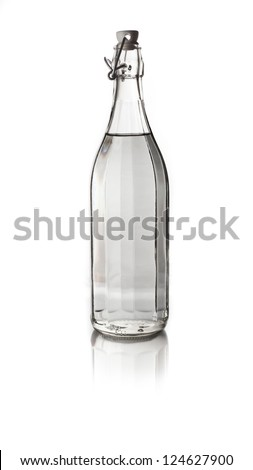 Glass bottle of water. Isolated on white background - stock photo