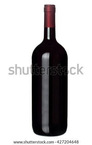Glass bottle of wine on a white background with a red neck without label.