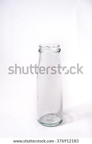 Glass bottle, white background