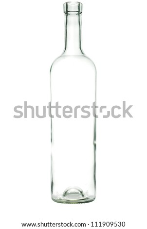 Glass bottle with a white liquid. The materials can be recycled - stock photo