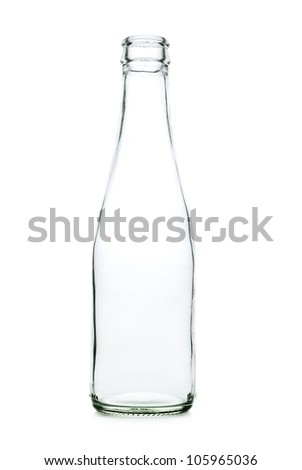 Glass bottle with a white liquid. The materials can be recycled again.