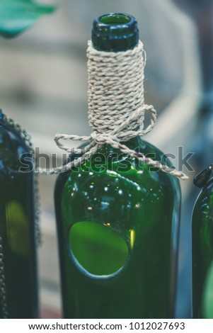 Glass Bottle With Bow Rope