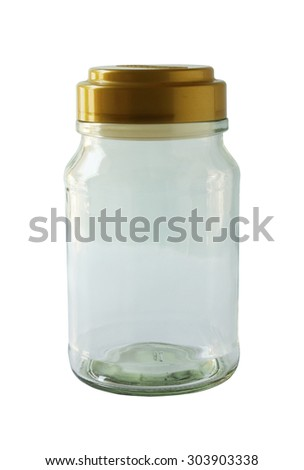 Glass bottle with cap vacuum isolated on white background (with clipping path)