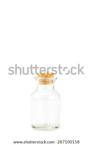 Glass bottle with cork cover isolated on white background, Leave space on top for adding your content - stock photo