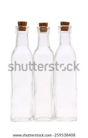 glass bottle with cork stopper isolated on white background - stock photo
