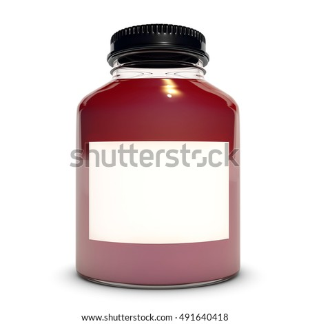 Glass bottle with red liquid 3D rendering