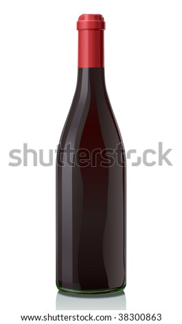 Glass bottle with red wine. Classic Burgundy style.  Serie of images. You can find many various types of realistic vector illustrations of wine bottles in my portfolio.