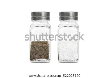 glass bottles with ground pepper and salt