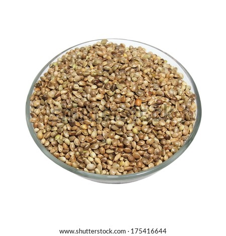 glass bowl full of hemp seeds isolated on white background - stock photo