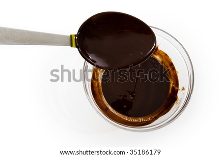 Glass bowl of melted chocolate with spoon