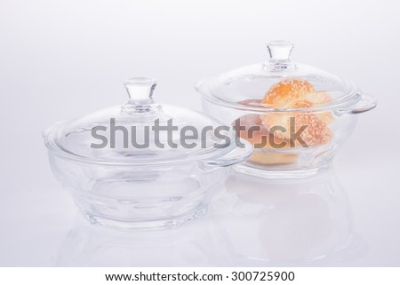 glass bowl with food on the background - stock photo