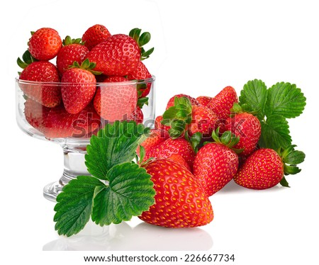 glass bowl with fresh strawberries isolated on white background - stock photo