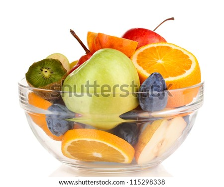 Glass bowl with fruit for diet isolated on white - stock photo
