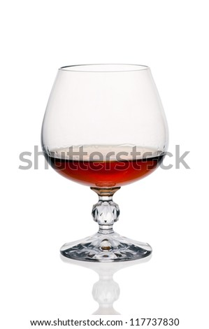 glass  brandy isolated on white background - stock photo