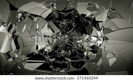 Glass breaking and shatter on black. Large resolution - stock photo