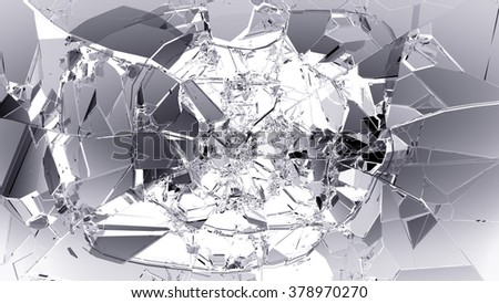 Glass breaking and shatter on white. - stock photo