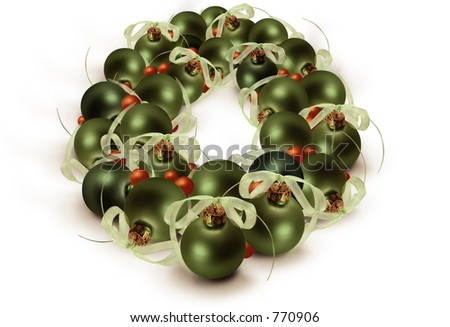 Glass bulb Christmas wreath - stock photo