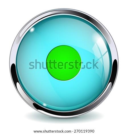 Glass button - Control. Round web media icon with metallic frame. Isolated on white background. Raster version - stock photo