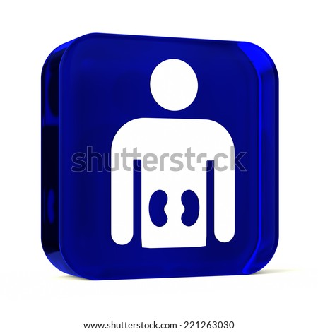 Glass button icon with white health care sign or symbol
