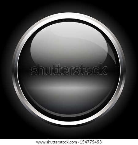 Glass button on a black background