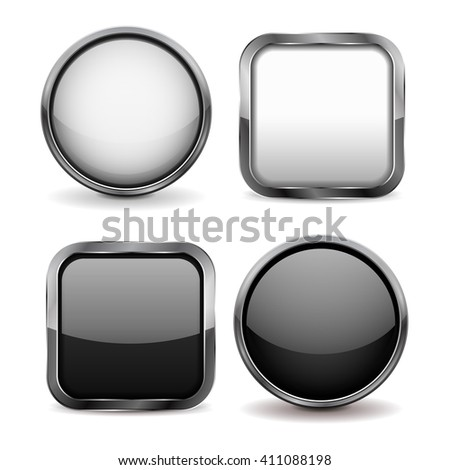 Glass buttons. Set of black and white shiny icons. Illustration isolated on white background. Raster version