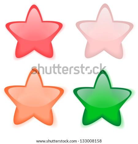 Glass buttons stars raster - stock photo