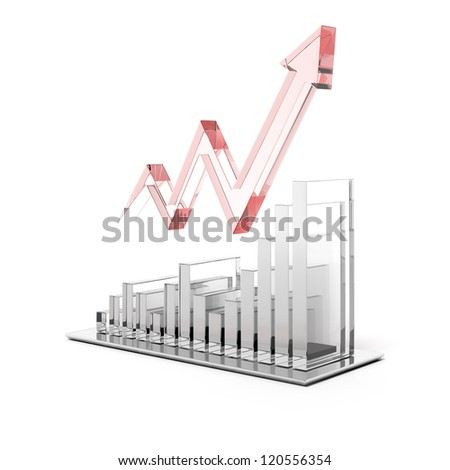 Glass chart with red arrow - stock photo