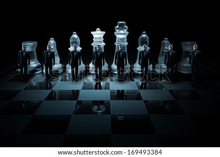 Glass chess board - Businessman peasants site - stock photo