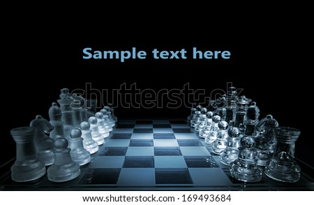 Glass chess board - your text here - stock photo