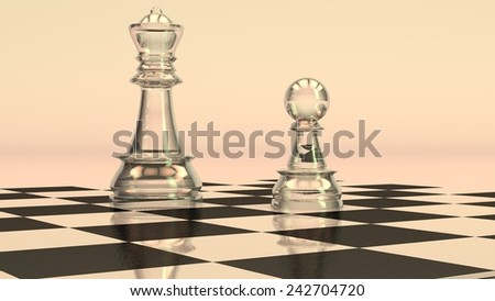 glass chess figures of queen and pawn - stock photo