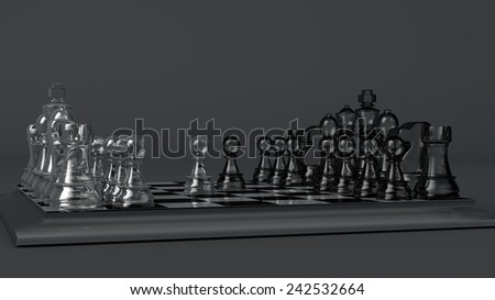 glass chess set - stock photo
