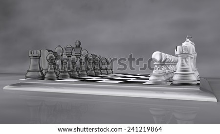 glass chess set on grey backdrop - stock photo