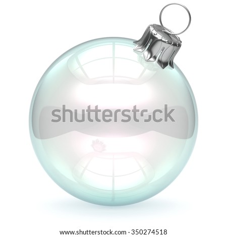Glass Christmas ball empty adornment bauble clear blank New Year's Eve ornament translucent decoration shiny polished. Happy Merry Xmas traditional wintertime celebration symbol. 3d render isolated - stock photo