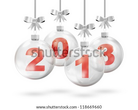 Glass Christmas Balls 2013 Hanging on Silver Ribbons isolated on white background - stock photo