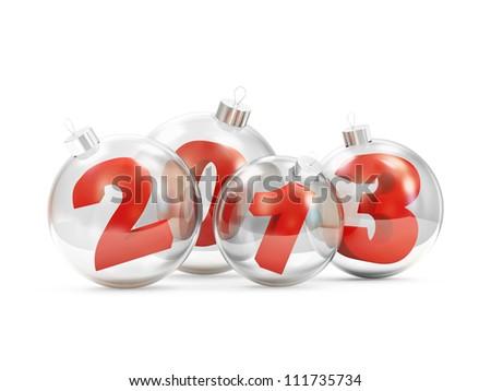 Glass Christmas Balls 2013 isolated on white background - stock photo