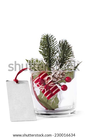 Glass Christmas decoration on white background - stock photo