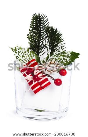 Glass Christmas decoration on white background - stock photo