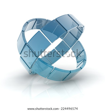 glass circles composed by glass cubes isolated on white background.
