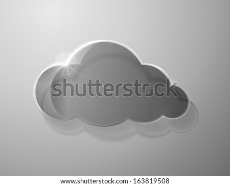 Glass cloud on gray background - stock photo