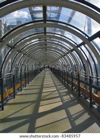Glass conduit at Pompidou Centre in Paris France - stock photo